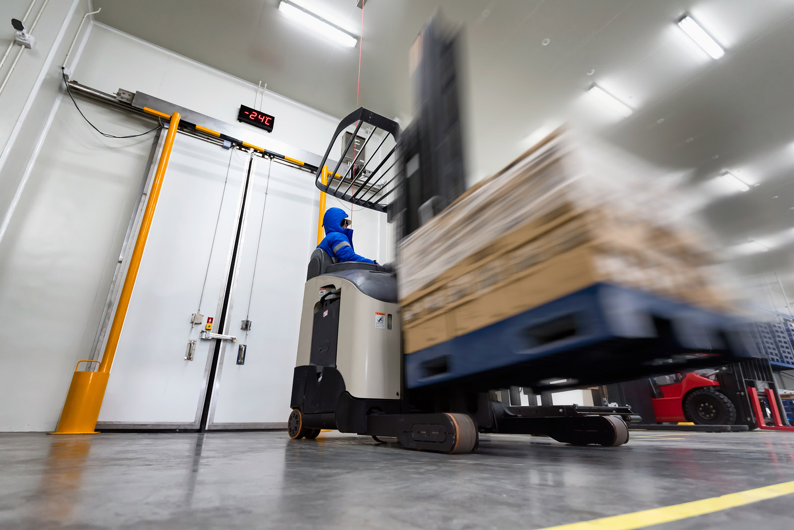 forklift in temperature controlled warehouse